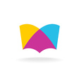 Open book logo Colorful overlay flat style vector image