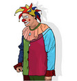 party clown with colorful hat vector image