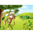 A hanging monkey and a beautiful nature vector image
