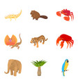 african animal icons set cartoon style vector image