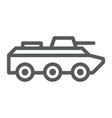 Amphibious vehicle line icon transport and army