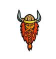 angry norseman head mascot vector image