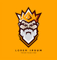 awesome bearded king logo design vector image vector image