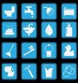 bathroom and toilet icon set basic style