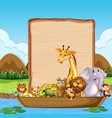 border template with cute animals on boat vector image vector image