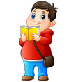 cartoon fat boy in sweater reading a book vector image vector image