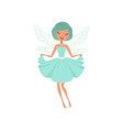 cartoon smiling fairy girl in blue dress vector image