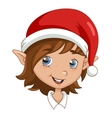 Christmas elf head vector image