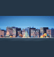 city building houses night view skyline background vector image vector image