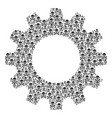 cogwheel collage of death skull icons vector image