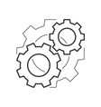 cogwheels mechanism outline icon vector image