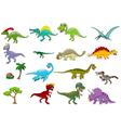 dinosaur cartoon set vector image vector image
