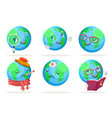 ecology happy emotion nature earth globe vector image vector image