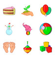 educational toy icons set cartoon style vector image vector image