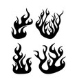 fire flame silhouette set design isolated on white vector image