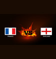 flags of france and england against the vs symbol vector image vector image