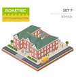 flat 3d isometric school and city map constructor vector image vector image