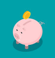 flat funny pig isolated on color background vector image vector image