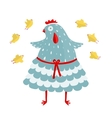 Funny Mom Hen and her Yellow Chicken vector image vector image
