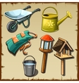 Garden tools and decorations on the plot big set vector image vector image