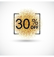 Gold sale 30 percent on background vector image
