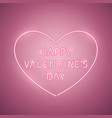 happy valentines day heart rose neon banner vector image vector image