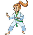 karate stance girl vector image