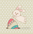 little rabbit with egg painted easter character vector image