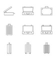 luggage icon set outline style vector image