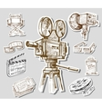 movie camera-hand drawn vector image vector image