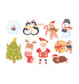 new year characters with santa claus gingerbread vector image vector image