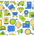 online shopping seamless pattern in line style vector image vector image