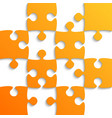 orange puzzle pieces - jigsaw - field for chess vector image vector image