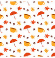 pattern with cup and umbrella vector image vector image