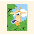 Poster with funny giraffe in cartoon style vector image