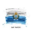 realistic watercolor painting flag san marino vector image