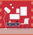 retro interior with wall frames for copy space on vector image vector image