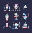 robots android for doing household set on dark vector image