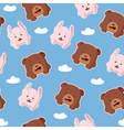 seamless pattern with rabbit and bear vector image