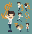 Set of businessman with dollar sign characters pos vector image vector image
