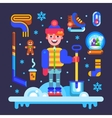 Set of winter attributes for fun and holidays