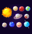 solar system sun and planets vector image