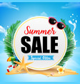 summer sale on white circle frame with starfish vector image vector image
