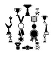 trophy and awards simple icons set vector image vector image