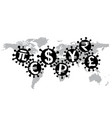 virus covid-19 and world economy vector image vector image