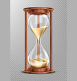 wooden hourglass with falling sand isolated vector image