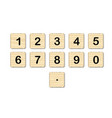 wooden square numbers vector image