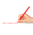 hand with pen writing on paper vector image