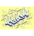 three dimensional word team with people a vector image