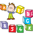 little boy hold colorful cubes with letter and n vector image